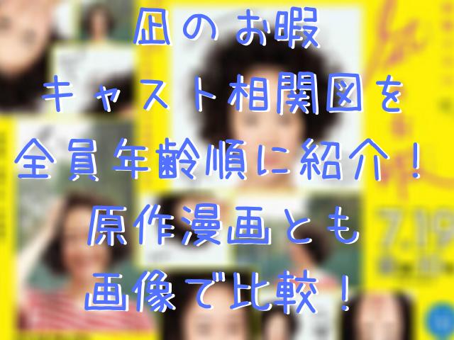 凪のお暇キャスト相関図を全員年齢順に紹介!原作漫画と画像で比較!